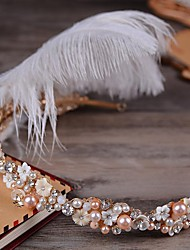 Imitation Pearl Rhinestone Feather Alloy Tiaras Headbands Headpiece