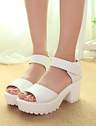 cheap -Women's Shoes PU Summer Comfort Sandals Chunky Heel Open Toe For Casual Black White