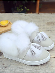 cheap -Women's Shoes PU(Polyurethane) Fall / Winter Fluff Lining Loafers & Slip-Ons White / Gray