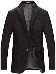 cheap -Men's Party Work OL Style Office/career Korean Winter Fall Blazer,Solid Shirt Collar Long Sleeve Regular Rayon Polyester