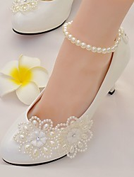 cheap -Women's Shoes Lace Leatherette Spring Fall Comfort Wedding Shoes Stiletto Heel Round Toe Rhinestone Applique Imitation Pearl For Wedding