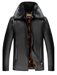 cheap -Men's Daily Going out Simple Casual Sexy Chinoiserie Winter Leather Jacket,Solid Shirt Collar Long Sleeve Regular Cotton Fur Trim