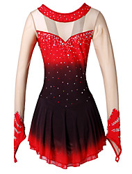 Figure Skating Dress Women's Girls' Ice Skating Dress Black/Red Red+Black Spandex High Elasticity Performance Handmade Skating Wear Ice
