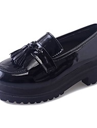 cheap -Women's Shoes PU Fall Comfort Loafers & Slip-Ons Creepers Round Toe Tassel For Casual Burgundy Black
