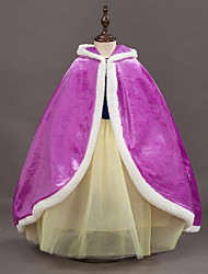 cheap -Velvet Wedding Party / Evening Kids' Wraps With Cap Capes
