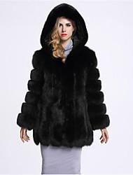 economico -Cappotto di pelliccia Da donna Casual Semplice Autunno Inverno,Tinta unita Con cappuccio Cotone Lungo