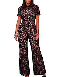 cheap -Women's Boho Jumpsuit - Color Block Embroidered, Lace Mesh Crew Neck