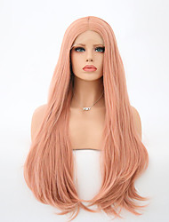 cheap -Women Synthetic Wig Lace Front Long Natural Wave Pink Middle Part Natural Wigs Costume Wig