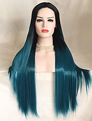 cheap -Uniwigs Women Synthetic Wig Lace Front Long Straight Black/Smoke Blue Natural Wigs Costume Wig