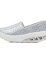 abordables -Femme Chaussures Paillette Brillante Automne / Hiver Confort Mocassins et Chaussons+D6148 Plateau Bout rond Fleur pour Noir / Bleu clair