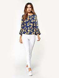 Women's Holiday Casual/Daily Simple Street chic Fall T-shirt,Floral Round Neck Long Sleeves Polyester