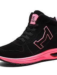 Women's Shoes PU Fall Winter Comfort Athletic Shoes Basketball Shoes Flat Heel Closed Toe Lace-up For Athletic Outdoor Green Fuchsia Black