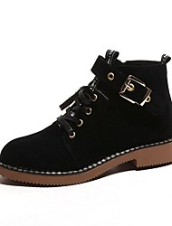 Women's Shoes Suede Fall Combat Boots Boots Flat Heel Round Toe Lace-up For Casual Brown Black