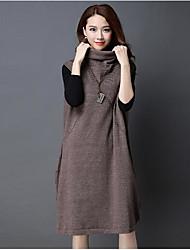 Largo Vestito Da donna-Casual Tinta unita A collo alto Medio Senza maniche Cotone Autunno A vita medio-alta Media elasticità Medio