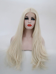 cheap -Women Synthetic Wig Lace Front Long Natural Wave Platinum Blonde Middle Part Natural Wigs Costume Wig