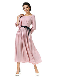 SHE IN SUN Women's Party Daily Chinoiserie Swing Dress,Solid Boat Neck Maxi 3/4 Length Sleeves Polyester Fall All Seasons Mid Rise Inelastic Medium
