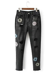 cheap -Women's Mid Rise Micro-elastic Slim Jeans Pants Embroidered Cotton Polyester Summer Fall