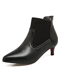 Women's Shoes Leatherette Fall Winter Fashion Boots Combat Boots Boots Kitten Heel Pointed Toe Booties/Ankle Boots For Party & Evening