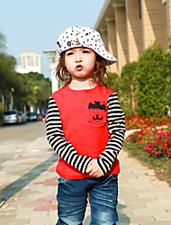 cheap -Boys' Color Block Stripe Animal print Tee,Cotton Spring Fall Long Sleeve Striped Animal Design Casual Cartoon Tops Korean T-Shirt Red Gray