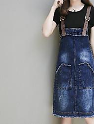 economico -Jeans Vestito Da donna-Per uscire Casual Moda città Tinta unita Rotonda Al ginocchio Manica corta Cotone Estate A vita medio-alta