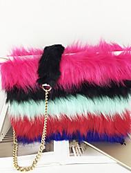 economico -Donna Sacchetti Scamosciato Pochette Con Piume / in pelliccia per Shopping Casual Per tutte le stagioni Arcobaleno