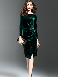cheap -Women's Going out Sexy Sophisticated Sheath Dress,Solid Color Round Neck Knee-length Long Sleeves Velvet Winter Fall Mid Waist