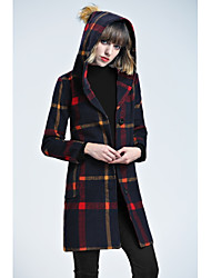 Women's Casual/Daily Work Street chic Sophisticated Winter Coat,Geometric Hooded Long Sleeve Long Wool Polyester
