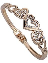 abordables -Mujer Diamante sintético Pulseras de puño - Brillante Corazón Personalizado, Clásico Pulseras y Brazaletes Dorado Para Fiesta / Diario