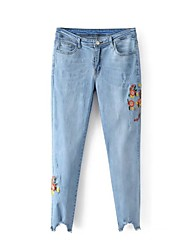 cheap -Women's Mid Rise Micro-elastic Skinny Jeans Pants Embroidered Cotton Polyester Summer Fall
