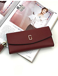 cheap -Women Bags PU Wallet Zipper for Casual All Seasons Blue Black Red Blushing Pink Sky Blue