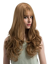 cheap -Women Synthetic Wig Capless Long Wavy Light golden Middle Part With Bangs Natural Wigs Costume Wig