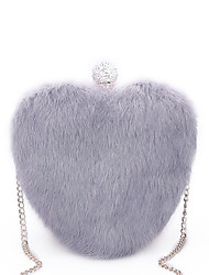 cheap -Women Bags Fur Evening Bag Crystal Detailing Feathers / Fur for Wedding Event/Party All Seasons White Black Blushing Pink Gray Purple