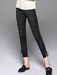cheap -Women's Mid Rise Inelastic Slim Jeans Pants Solid Cotton Spandex All Seasons