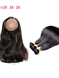 cheap -8A Pre Plucked 360 Lace Frontal Closure With 3 Bundles Brazilian Virgin Hair Straight 360 Lace Virgin Hair With Straight Weave