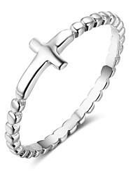 preiswerte -Damen Bandringe bezaubernd Sterling Silber Kreuz Schmuck Geschenk