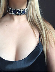 Women's Choker Necklaces Rhinestone Rhinestone Fabric Single Strand Euramerican Handmade Punk Personalized Jewelry Daily Casual 1pc