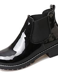 Feminino Sapatos Couro Ecológico Outono Conforto Coturnos Botas Salto Grosso Ponta Redonda Botas Cano Médio Elástico Para Casual Preto