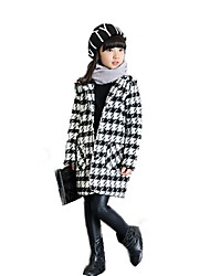 cheap -Girls' Check Jacket & Coat,Wool Cotton Winter Fall Long Sleeve Basic Classic & Timeless Check Vintage Inspired Halloween Christmas New