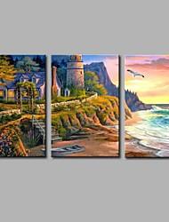 cheap -Hand-Painted Travel Horizontal Panoramic,Artistic Casual Birthday Modern Three Panels