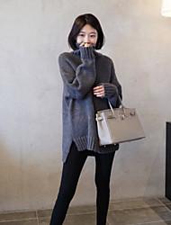 preiswerte -Damen Standard Pullover-Lässig/Alltäglich Solide Rollkragen Langarm Andere Winter Mittel Mikro-elastisch