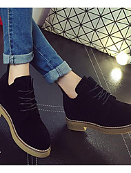 Women's Shoes Nubuck leather Fall Winter Combat Boots Boots Booties/Ankle Boots Mid-Calf Boots For Casual Khaki Gray Black