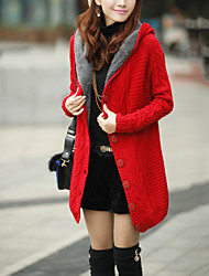 cheap -Women's Street chic Wool Coat-Solid Colored