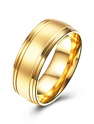 cheap -Men's Band Ring - Titanium Steel Basic, Fashion 7 / 8 / 9 Gold For Party / Engagement / Daily