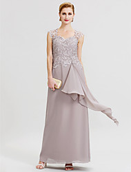 Sheath / Column Queen Anne Floor Length Chiffon Lace Mother of the Bride Dress with Ruffles Pleats by LAN TING BRIDE®