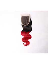 cheap -Indian Hair Body Wave Ombre Hair Weaves Human Hair Weaves Black / Red Human Hair Extensions Women's