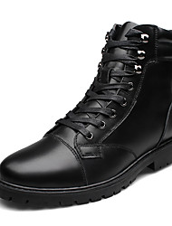 cheap -Men's Shoes Real Leather Cowhide Nappa Leather Fall Winter Driving Shoes Comfort Fashion Boots Bootie Boots Booties/Ankle Boots Lace-up
