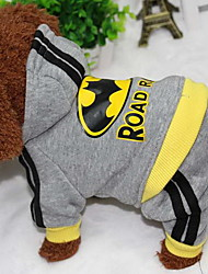 Dog Coat Hoodie Jumpsuit Dog Clothes Casual/Daily Letter & Number Gray Costume For Pets