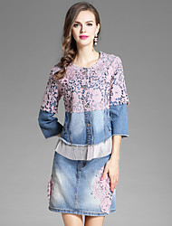 EWUS Women's Going out Casual/Daily Street chic Fall Blouse Skirt SuitsFloral Embroidery Round Neck  Sleeve Denim Micro-elastic