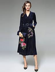 Trapèze Robe Femme Soirée Sortie Décontracté / Quotidien Sexy Vintage Sophistiqué,Fleur Col en V Midi Manches Longues Polyester Velours