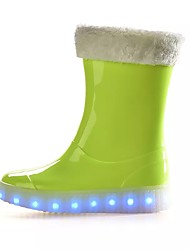 preiswerte -Jungen Schuhe PVC Leder Frühling Herbst Modische Stiefel Stiefel Mittelhohe Stiefel Für Normal Schwarz Grün Blau Rosa